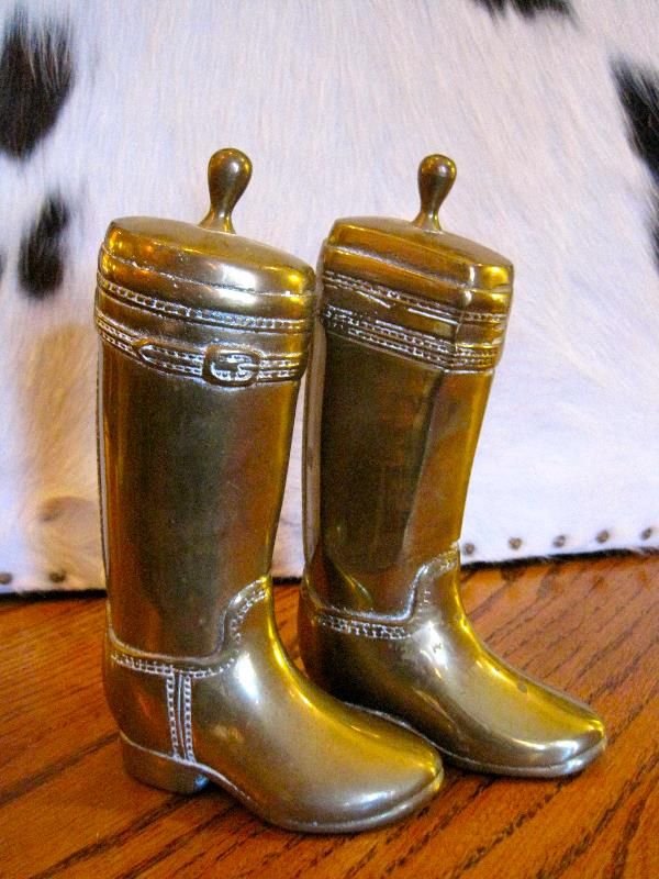 Pair of Brass Cowboy Boot Bookends