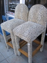 Set of Four Cheetah Print Bar Stools