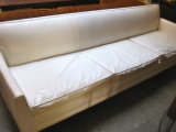 White Naugahyde Mid-Century Sofa