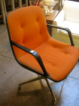 1970s Orange Tweed Steelcase Chair on Wheels