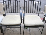 Pair of French Style Wrought Iron Garden Arm Chairs