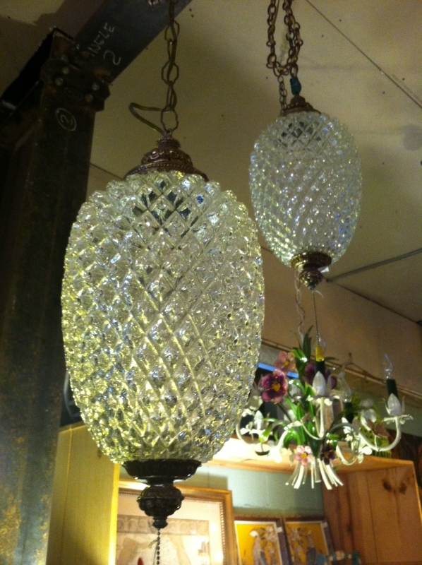 Pair of Glass Swag Lights