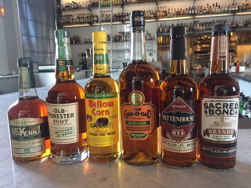 Selection of Bottled-in-Bond Spirits at Hard Water