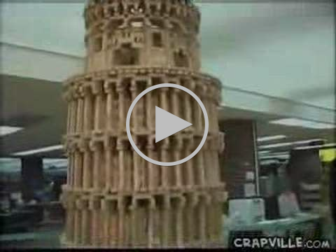 Clumsy Reporter Knocks Down Jenga Tower