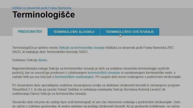 TERMINOLOGIŠČE - Predstavitev