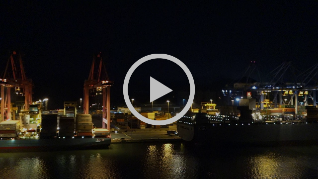 Arriving into the port of Busan New Container Terminal at night