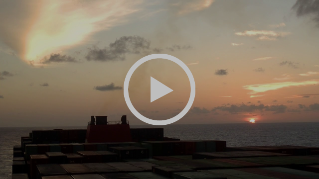 Sunset from a 13,000 TEU container vessel in the Indian Ocean