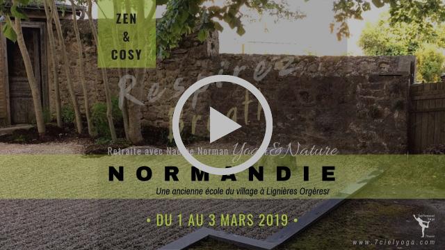 """Voir VIDEO FLYER : """"BREATH IT OM /(Respirer)"""" RetraiteYOGA + NATURE avec Nadine Norman dans une ancienne école du village en NORMANDIE"""