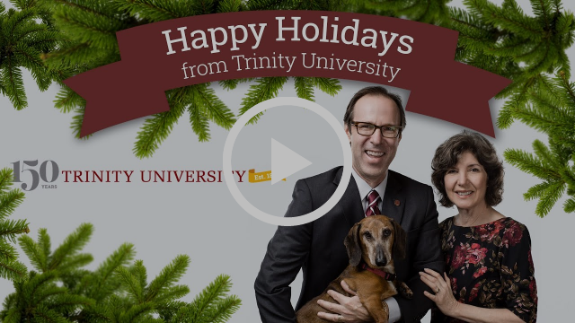 Danny, Kimberly, 150th Trinity University Anniversary logo with a video play button