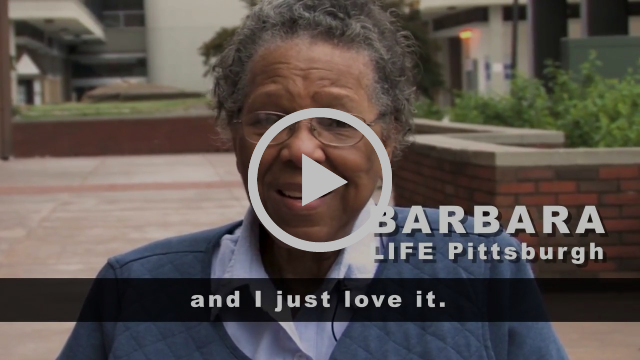 Video testimonial shows Barbara outside talking about why she loves the LIFE Pittsburgh program.