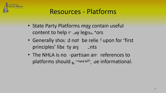 New Hampshire Liberty Alliance Bill Review Training
