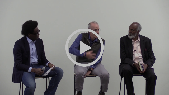 Video still shows Osagie Obasagie, Bill Mckibben, and john a. powell seated at a panel