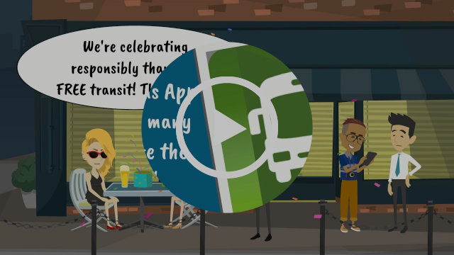 Preview of RTC Free Transit video showing people celebrating