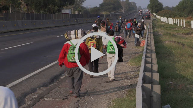 an image grab from the video shows climate refugees in Mexico