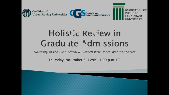 Holistic Review in Graduate Admissions -- What we need to Know
