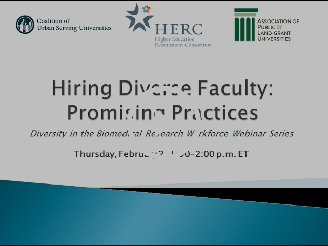 Hiring Diverse Faculty: Promising Practices