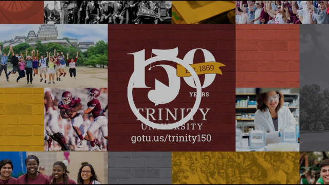 collage with trinity 150 logo