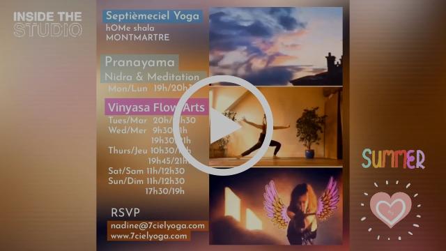 """Voir les horaires des cours du YOGA en été proposées parNadine : dans le studio Septièmeciel Yoga à Montmartre ainsi que 🌿 """"pOp Up yOgA en plein air"""""""