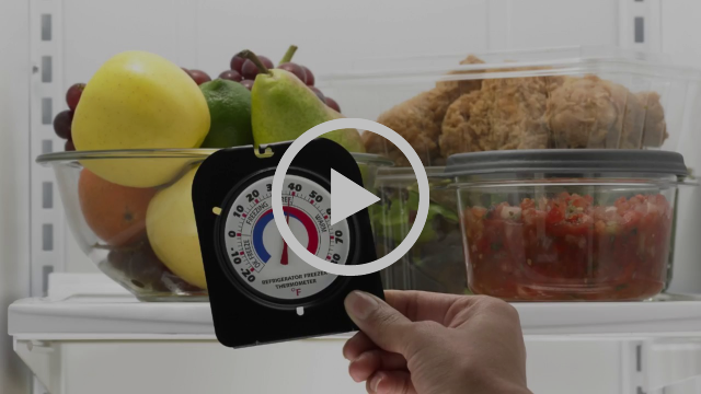 A hand is holding a food thermometer in front of an open refrigerator with a bowl of fresh produce, a container of fried chicken and jars of salsa inside.