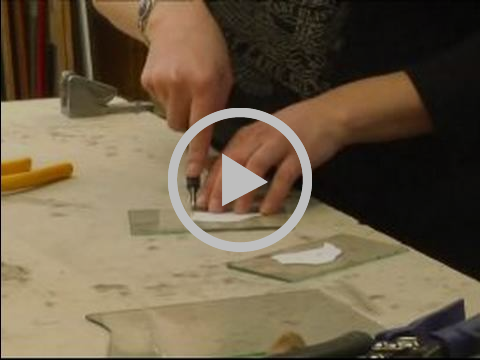 How to Make Stained Glass Stepping Stones : How to Score Stained Glass