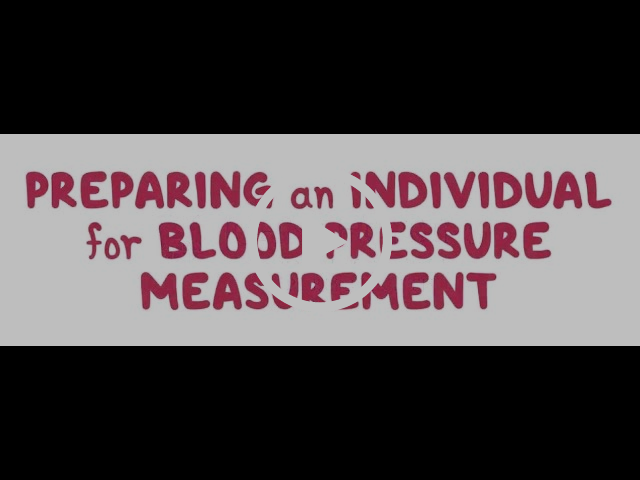 Preparing an Individual for Blood Pressure Measurement