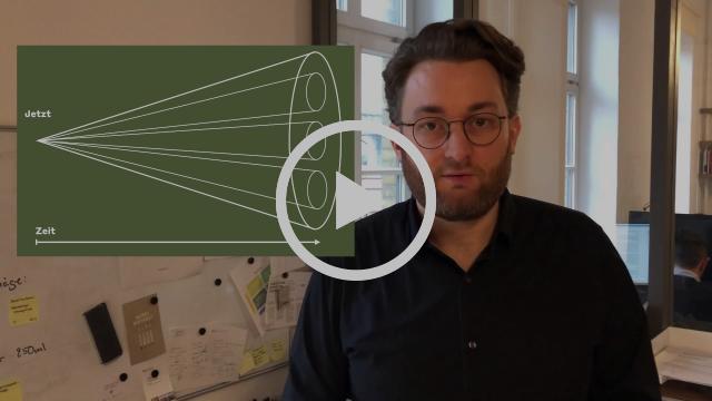 Standbild von Video mit Johannes Kleske und Zukunftstrichter